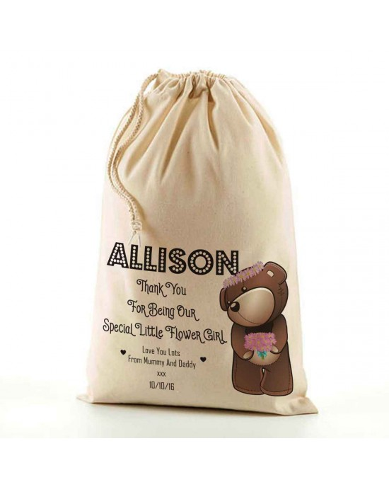 Cute Teddy Flower Girl Wedding Favour. Natural Cotton Drawstring Stuff Bag, Change any text to personalise. Available In 6 sizes