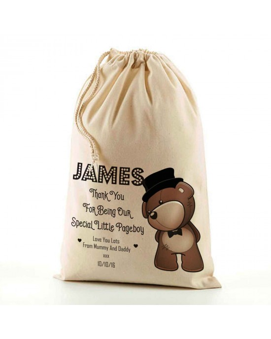 Cute Teddy in a Top Hat Wedding Favour. Natural Cotton Drawstring Stuff Bag, Change any text to personalise. Available In 6 sizes