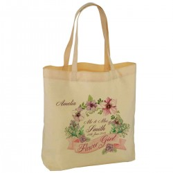 Floral Water Colour Personalised Wedding Favour Cotton Tote Bag Wedding Party . Available in two sizes.