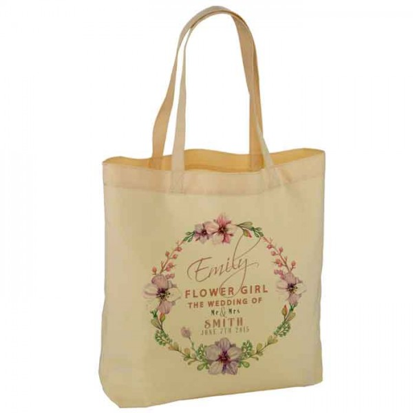 Personalised Floral Water Colour Wedding Favour Cotton Tote Bag Wedding Party . Available in two sizes.