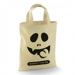 Personalised Halloween Trick or Treat Funny Face design Cotton Tote Bag.