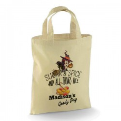 Personalised Halloween Trick or Treat Witch design Cotton Tote Bag.  perfect for your Little Monsters