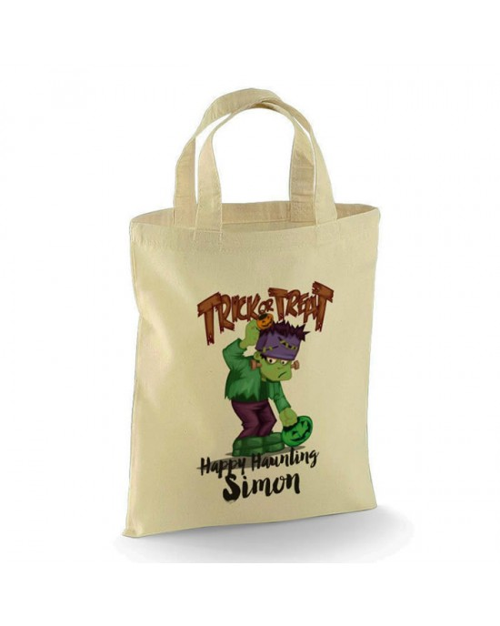 Personalised Halloween Trick or Treat Frankenstein design Cotton Tote Bag.  Perfect for your Little Monsters