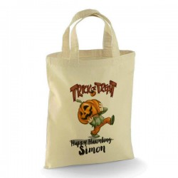 Personalised Halloween Trick or Treat Pumpkin Head design Cotton Tote Bag.  perfect for your Little Monsters