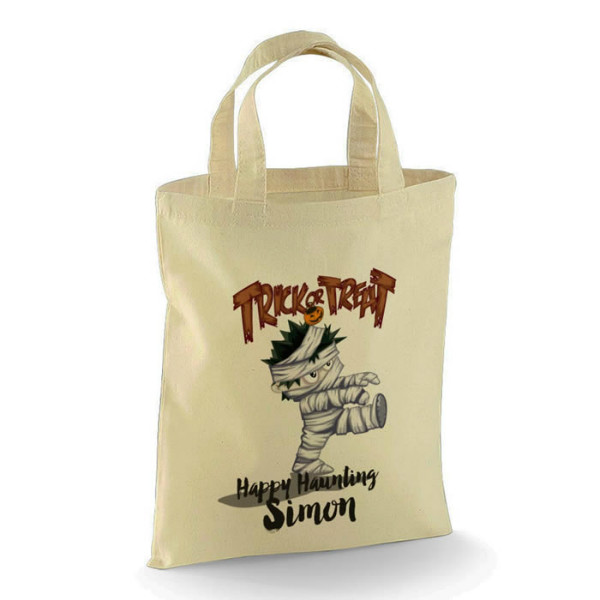 Personalised Halloween Trick or Treat Mummy design Cotton Tote Bag. Perfect for your Little Monsters