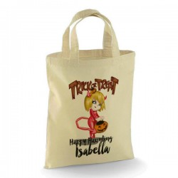 Personalised Halloween Trick or Treat Little Devil design Cotton Tote Bag. Perfect for your Little Monsters