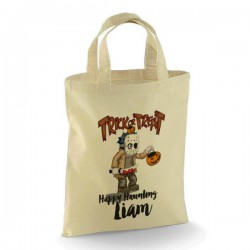Personalised Halloween Trick or Treat design Cotton Tote Bag. Perfect for your Little Monsters
