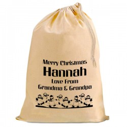 Dancing Snowmen Christmas Santa Present Gift Sack. Natural Cotton Drawstring Stuff Bag, Change any text to personalise.