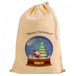 Christmas Santa Present Gift Sack. Snow Globe, Natural Cotton Drawstring Stuff Bag, Change any text to personalise.