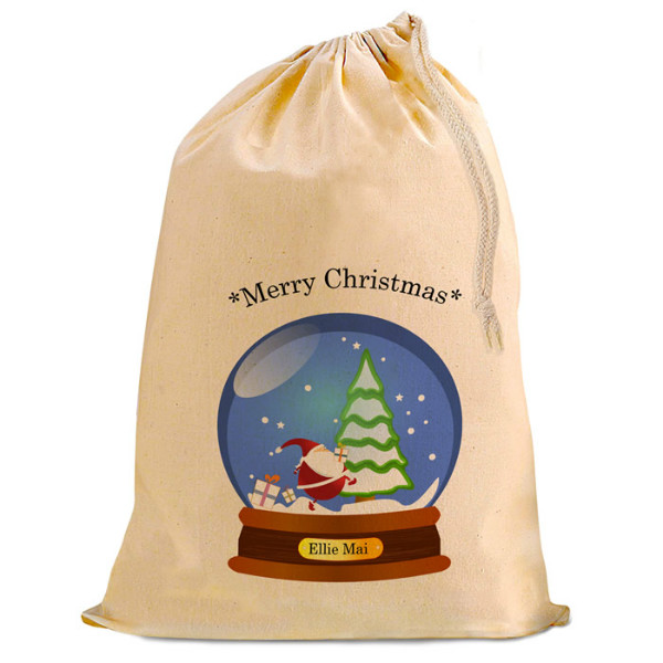 Christmas Santa Present Gift Sack. Snow Globe, Natural Cotton Drawstring Stuff Bag, Change any text to personalise.