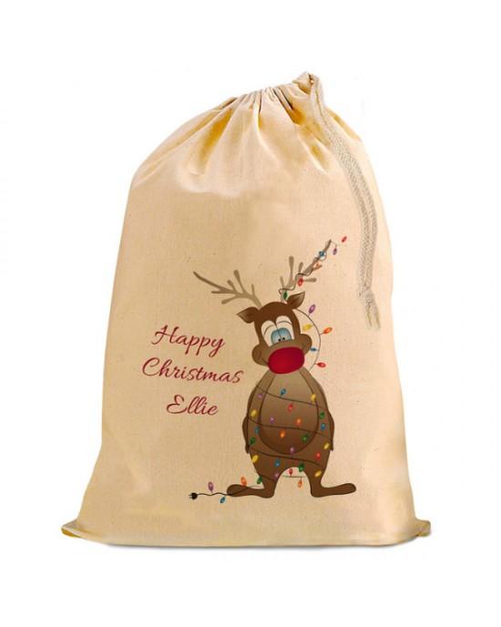 Christmas Santa Present Gift Sack. Rudolph Design Natural Cotton Drawstring Stuff Bag, Change any text to personalise.
