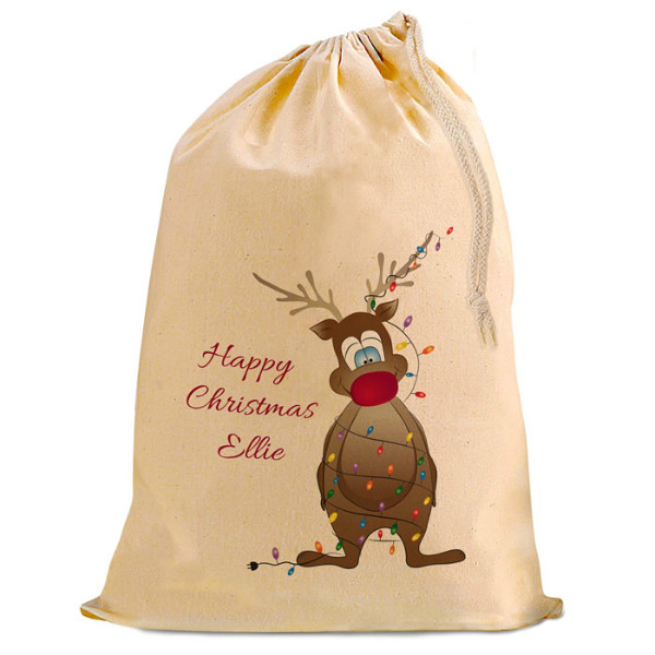 Christmas Santa Present Gift Sack. Rudolph Design Natural Cotton Drawstring Stuff Bag, Change any text to personalise.