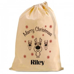 Christmas Santa Present Gift Sack. Cute Reindeer Natural Cotton Drawstring Stuff Bag, Change any text to personalise.