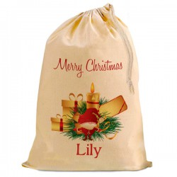 Christmas Santa Present Gift Sack. Natural Cotton Drawstring Stuff Bag, Change any text to personalise.