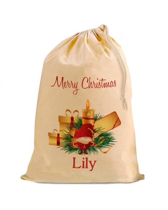 Christmas Santa Present Gift Sack. Natural Cotton Drawstring Stuff Bag, Change any text to personalise.