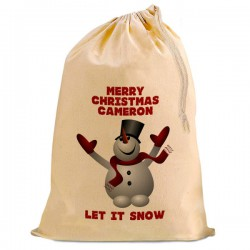 Dancing Snowman Christmas Santa Present Gift Sack. Natural Cotton Drawstring Stuff Bag, Change any text to personalise.