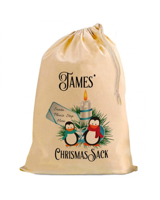 Cute Penguin Christmas Santa Present Gift Sack. Natural Cotton Drawstring Stuff Bag, Change any text to personalise.