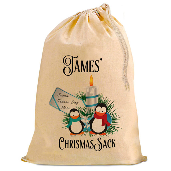 Cute Penguin Christmas Santa Present Gift Sack. Natural Cotton Drawstring Stuff Bag, Change any text to personalise.