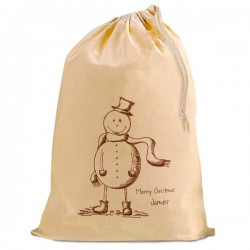 Vintage Snowman Christmas Santa Present Gift Sack. Natural Cotton Drawstring Stuff Bag, Change any text to personalise.