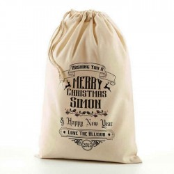 Personalised Christmas Santa Present Gift Sack. All sizes Available. Natural Cotton Drawstring Stuff Bag.