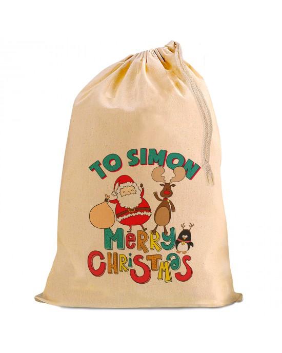 Comic Santa Christmas Present Gift Sack. Natural Cotton Drawstring Stuff Bag, Change any text to personalise.
