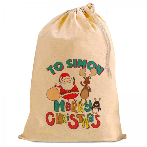Comic Santa Christmas Present Gift Sack. Natural Cotton Drawstring Stuff Bag, Change any text to personalise.