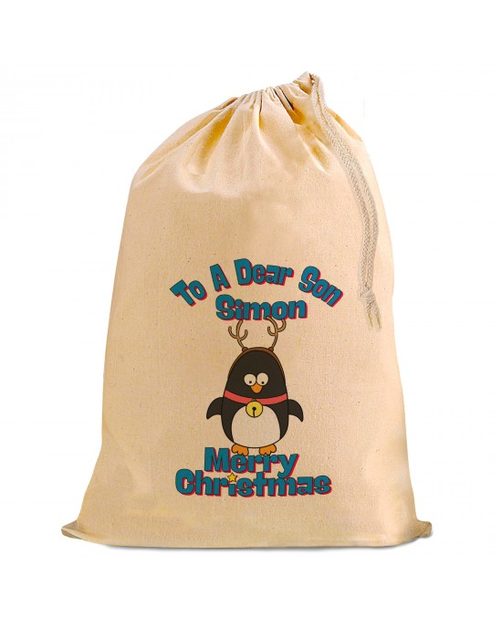 Christmas Comic Penguin Present Gift Sack. Natural Cotton Drawstring Stuff Bag, Change any text to personalise.