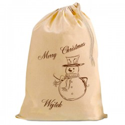 Personalised Christmas Santa Present Gift Sack. Vintage Snowman, Natural Cotton Drawstring Stuff Bag, Change any text to personalise.