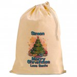 Personalised Xmas Tree, 49 cm by 75 cm Christmas Santa Present Gift Sack, Natural Cotton Drawstring bag.