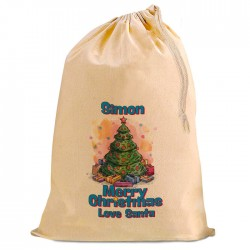 Personalised Xmas Tree, 49 cm by 75 cm Christmas Santa Present Gift Sack, Natural Cotton Drawstring bag.