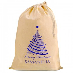 Personalised Blue Xmas Tree, Christmas Santa Present Gift Sack, Natural Cotton Drawstring Stuff Bag,