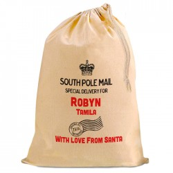 Christmas Present Gift Mail Sack. Personalised From Santa...Natural Cotton Drawstring Stuff Bag