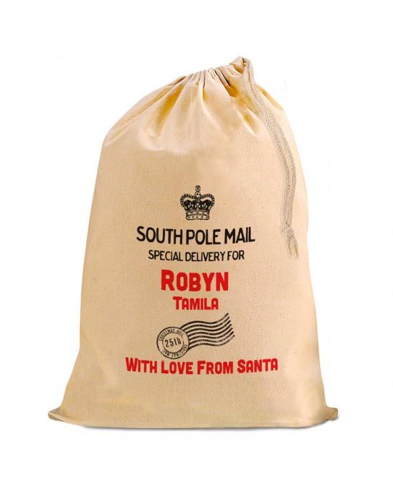Christmas Present Gift Mail Sack. Personalised From Santa...Natural Cotton Drawstring Stuff Bag