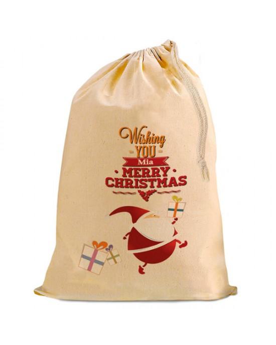 Christmas Comic Santa Present Gift Sack. Natural Cotton Drawstring Stuff Bag, Change any text to personalise.