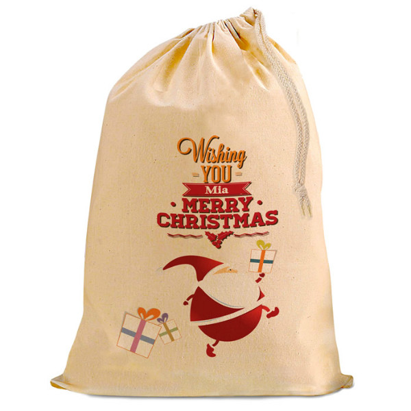 Christmas Comic Santa Present Gift Sack. Natural Cotton Drawstring Stuff Bag, Change any text to personalise.