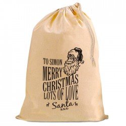 Christmas Santa Present Gift Sack. 49 cm by 75 cm Natural Cotton Drawstring Stuff Bag, Change any text to personalise.