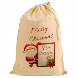 Personalised Christmas Santa Present Gift Sack. Natural Cotton Drawstring Stuff Bag,