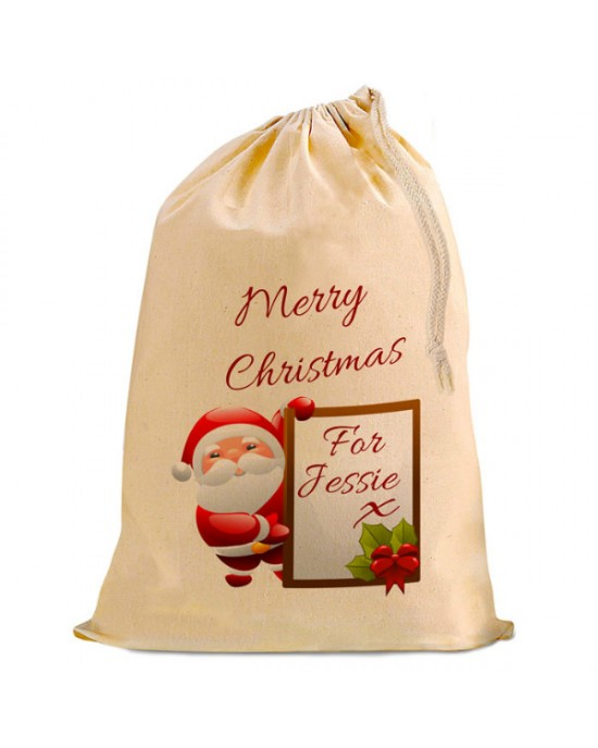 Personalised Christmas Santa Present Gift Sack. Natural Cotton Drawstring Stuff Bag,
