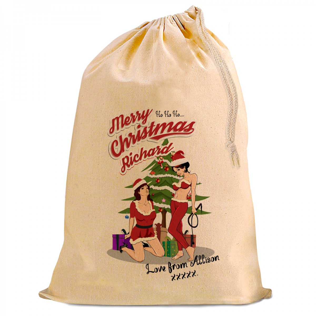 A Fun Design Sexy Female Santas Looking For A Personalised Christmas Present Gift Sack For Your Boy Friend Or Husband
