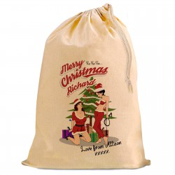 A Fun design, Sexy Female Santa's . Looking for a Personalised Christmas Present Gift Sack for your Boy friend or Husband?