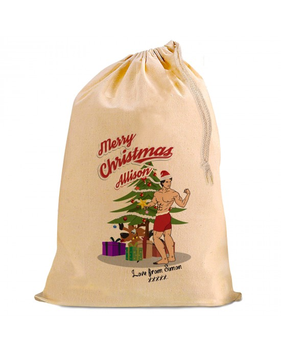 A Bit of Fun this design, Sexy male Santa (with very little on..) . Looking for a Personalised Christmas Present Gift Sack for your girl friend?