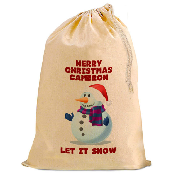 Christmas Comic snowman Present Gift Sack. Natural Cotton Drawstring Stuff Bag, Change any text to personalise.
