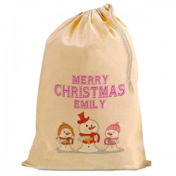 Christmas Comic Snowman Trio Present Gift Sack. Natural Cotton Drawstring Stuff Bag, Change any text to personalise.