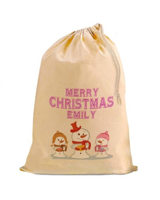Christmas Comic Snowman Trio Present Gift Sack. Natural Cotton Drawstring Stuff Bag, Change any text to personalise.