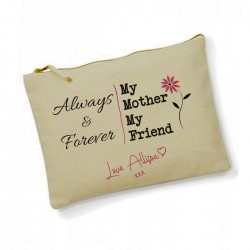 My mother My Friend Personalised Cotton Large Make up bag