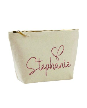 cf9003d19690 Personalised Canvas Makeup Bag glitter name in a script font.