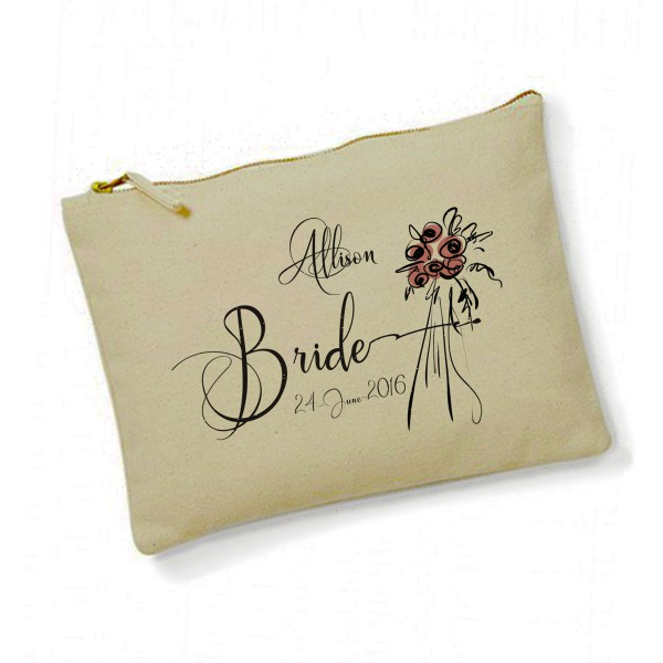 Personalised Hand Drawn Flowers Make Up Bag. Bridesmaid, Flower Girl Gift.