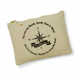 Compass My Love Personalised Cotton Large Make up bag