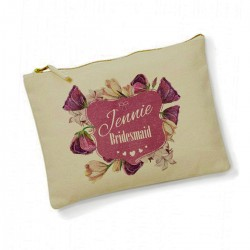 Personalised Purple flowers Make Up Bag. Bridesmaid, Flower Girl Gift.