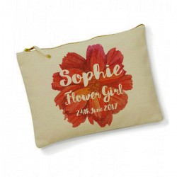 Personalised Large flower Make Up Bag. Bridesmaid, Flower Girl Gift.